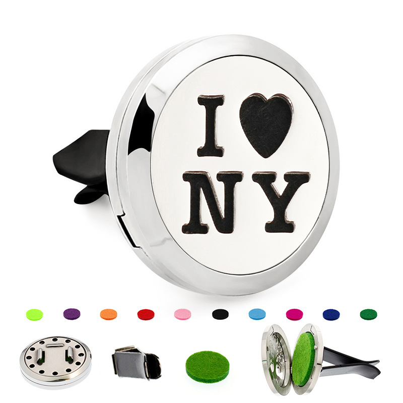 New 30MM I LOVE New York Design Car Aromatherapy Locket 316L Stainless Steel Essential Oil Diffuser Locket, Dropshipping!