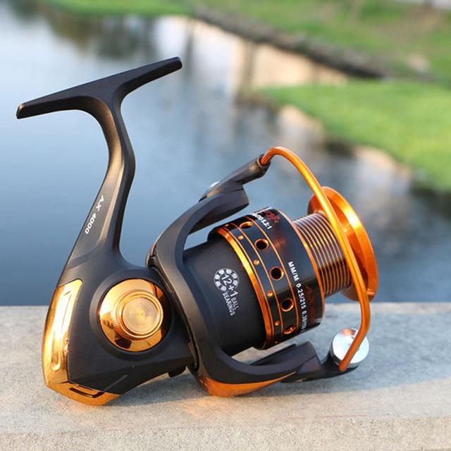 Spinning Fishing Reel 12BB + 1 Bearing Balls 500-9000 Series Metal Coil Spinning Reel Boat Rock Fishing Wheel 2