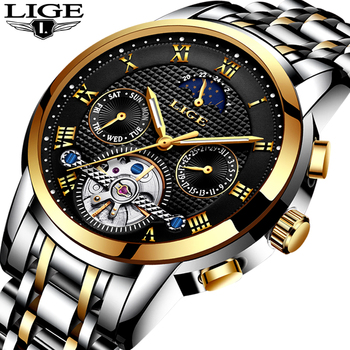 LIGE-relojes para hombre de marca superior, reloj mecánico automático de lujo para hombre, reloj deportivo resistente al agua de acero para negocios