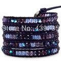 Bohemia leather handmade austrian crystal bracelets&bangles  infinity men charm bracelet pulseras LW-S021