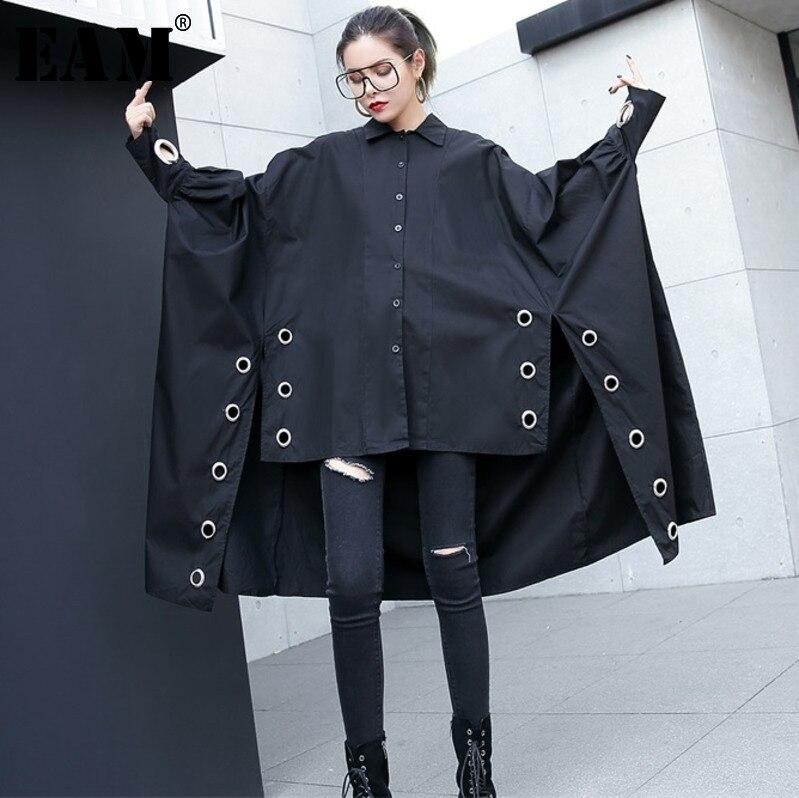 [EAM] 2019 Outono Nova Lapela Manga Comprida Preta Anel de Divisão Conjunta de Metal Irregular Tamanho Grande Camisa Blusa Mulheres moda Maré JE43701
