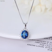 fashionable simple-designed 925 sterling silver natural blue topaz  gemstone jewelry pendant necklace for women