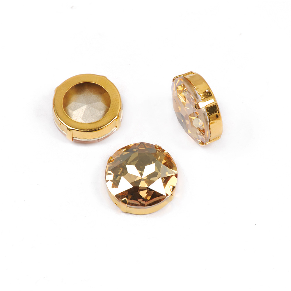 001GSHA Crystal Golden Shadow big Strass Fashion 27mm Round Rivoli K9 Sew on Stones Crystal Rhinestones with Gold Claw Setting in Rhinestones from Home Garden