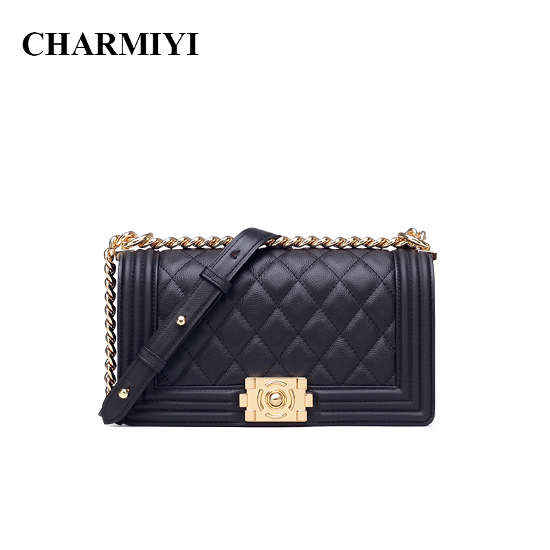 CHARMIYI Classic Women Real Leather Shoulder bags 2018 Designer Woman Cow Leather Messenger bag Luxury High Quality Handbags 247 classic leather