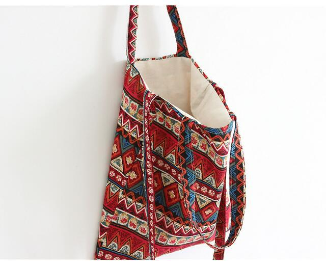 Summer Beach Bag Boho Open Linen Cotton Bohemia Shopping Bag Women Shopping Bag Has Lining