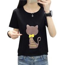 Harajuku T shirt Women Tshirt Summer Vintage Plus Size White Cat Print Female T-Shirt Tops Black Tee Shirt Femme New 2019