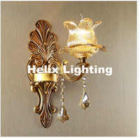 New European Style Copper Color Wall Lamp Single Double Head Hallway Light Bedroom Brass Glass Wall