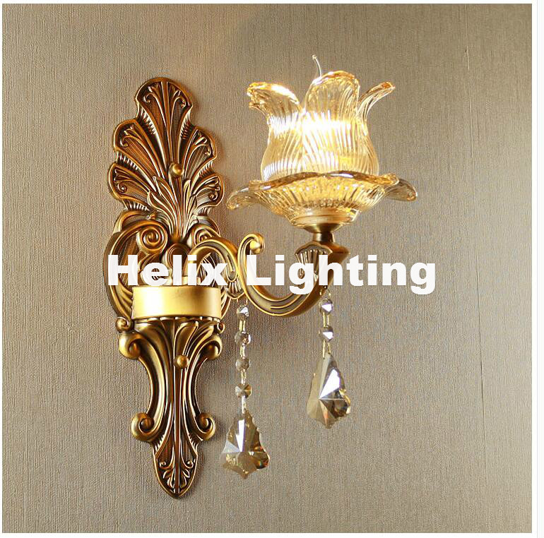 New European Style Copper Color Wall Lamp Single/Double Head Hallway Light Bedroom Brass Glass Wall Sconce AC 100% Guaranteed 2016 new european style full copper wall lamp hallway balcony corridor lighting