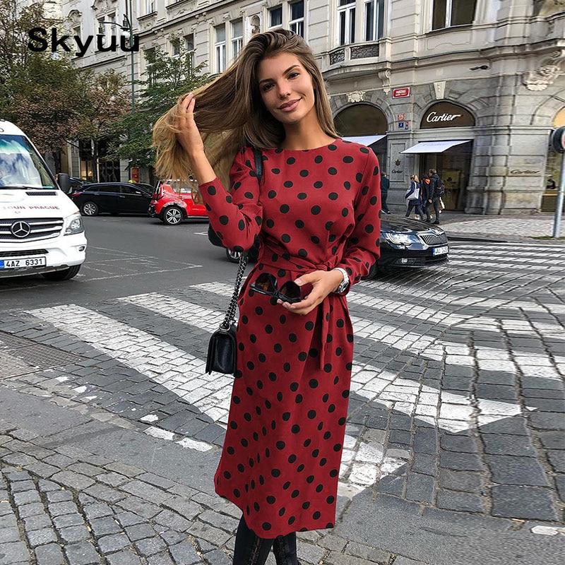 Skyuu 2019 Spring Summer Dress Airy Chiffon Long Sleeve 2XL Polka Dot Casual Midi Women Elegant Dress Ladies Dresses Clothes New