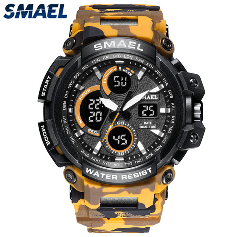 SMAEL Mens Sport Watches Camouflage Military Quartz Watch Men Waterproof Shock Fashion Dual Time Digital Watch Relogio Masculino smael 1708b