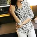 Women's Blouses Fashion Summer Letters Print Pattern Casual Shirt Female Chiffon Shirt 63