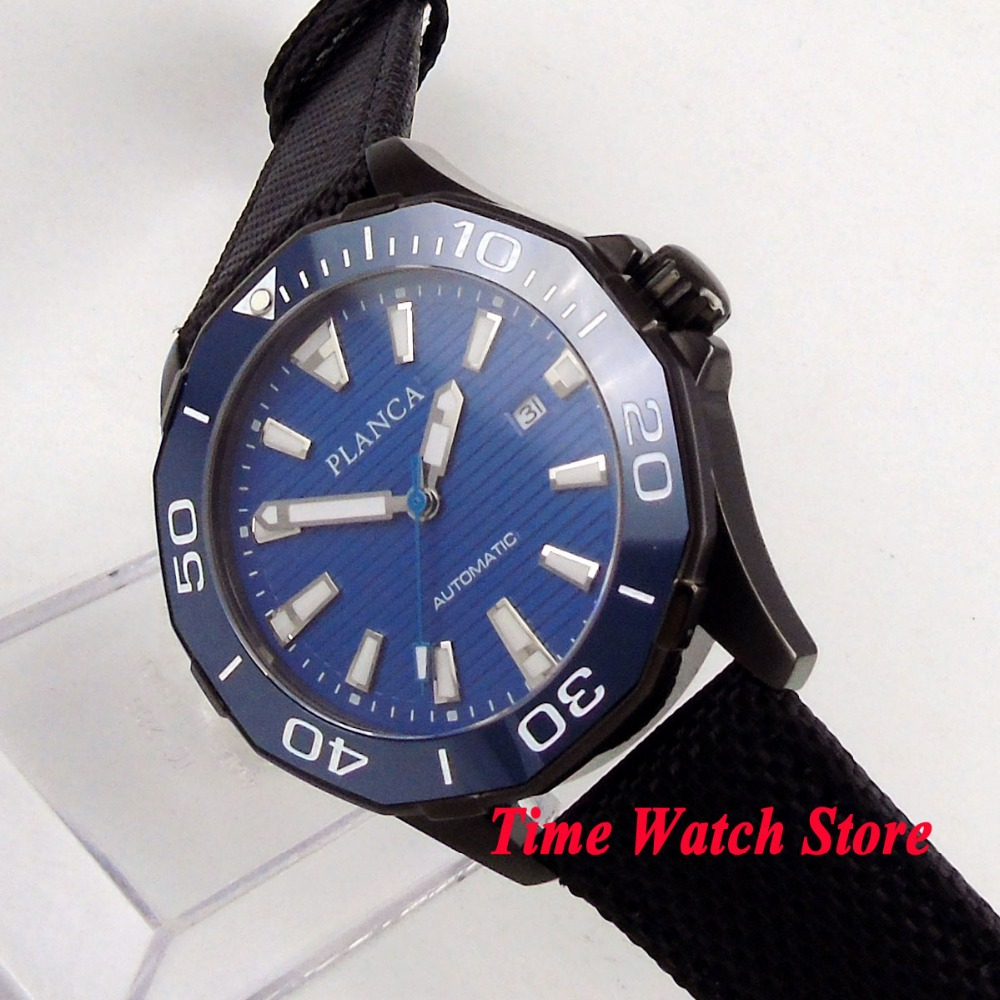 PLANCA 45mm PVD men's watch blue dial luminous ceramic bezel sapphire glass 5ATM MIYOTA Automatic movement wrist watch PL13 цена