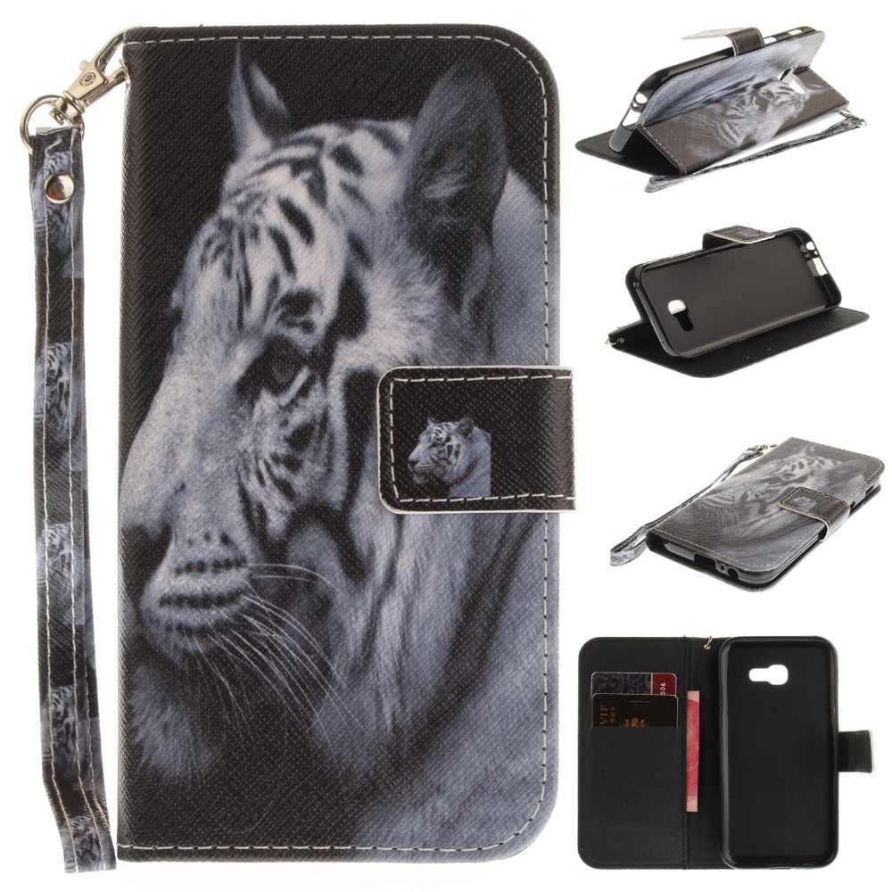 أسود القط النمر الذئب الصلصال ليوبارد القرد الحيوان محفظة قلابة حقيبة هاتف من الجلد المصقول غطاء لسامسونج غالاكسي A5 A510 A520 2016 2017