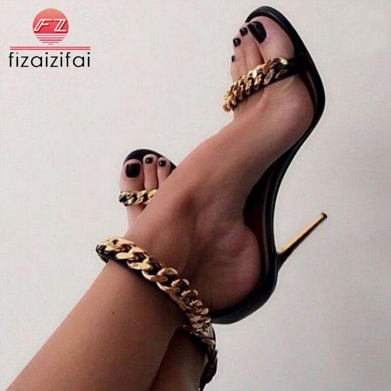 Besorgt Fizaizifai Frauen High Heel Sandalen Mode Metall Kette Schnalle Neue Sommer Schuhe Frauen Sexy Nachtclub Partei Sandalen Größe 35- 40