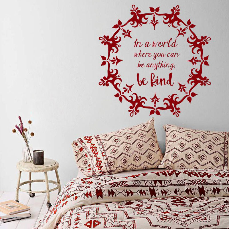 Mandala Wall Decal  Vinyl Personality slogan  Wall Sticker Yoga Studio Wall Art Mural Home Decoration Bohemian Boho Art MTL07-in Wall Stickers from Home & Garden