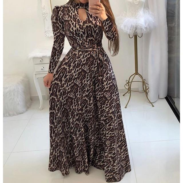 S-5XL Plus Size Long Maxi Dress Women Flower Print Party Dress Large Swing Bodycon Dress Autumn Bohemian Dresses 11 Styles