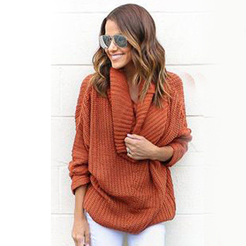 a19b18919a47 HOT ITEMS Women Oversized Batwing Sleeve Knitted Sweater Top Loose ...