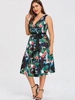950be7f6eea1 Gamiss Plus Size 5XL Hawaiian Leaf Belted Midi Dress Women Sleeveless V Neck  Elegant Party Ladies