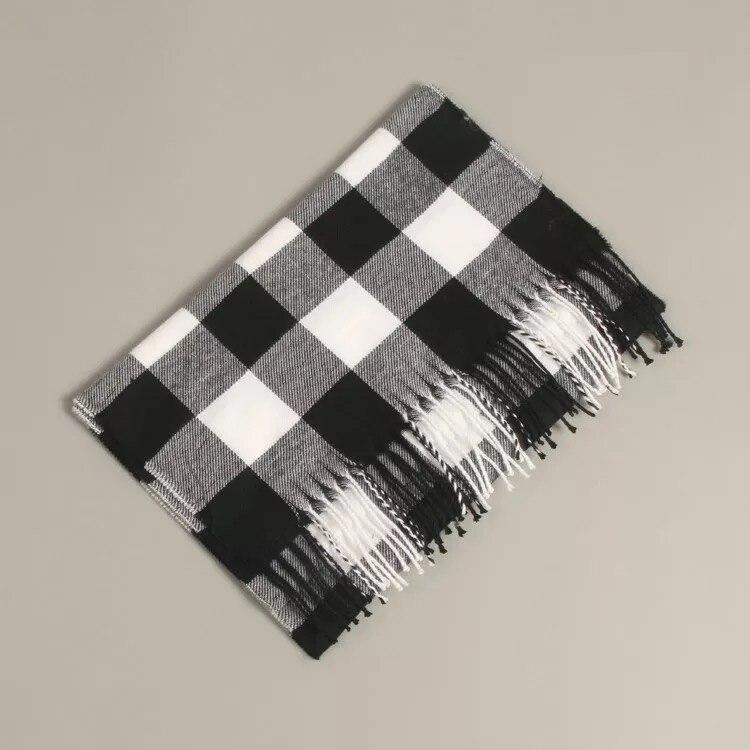 Осенне-зимний детский шарф, британский клетчатый высококачественный теплый мягкий шарф из искусственного кашемира, модный шарф для мальчиков и девочек - Цвет: TG-422 white black
