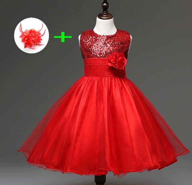 ac19425aa childrens wedding dress for 3 years to 11 years kids girl clothes princess  knee length blue red party wear dresses for girls