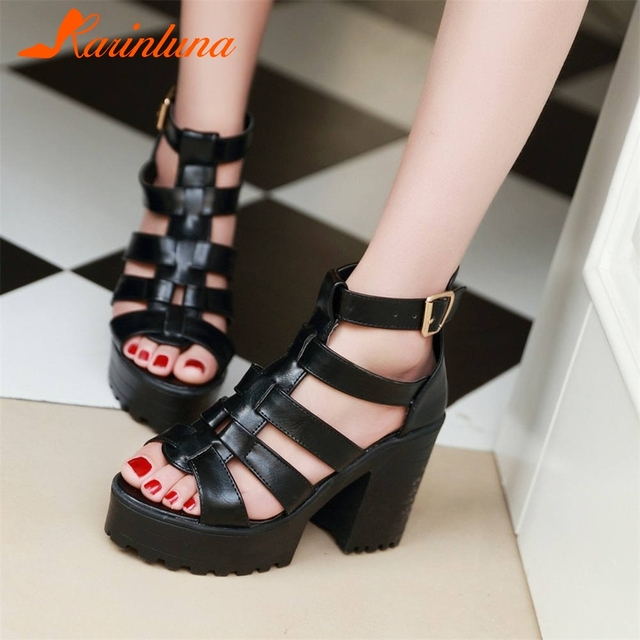 ab8246c3fc8 KARINLUNA Classic Elegant Black Summer Platform Gladiator Sandals Women  Cover Heel High Wide Heels Shoes Woman Big Size 34-43
