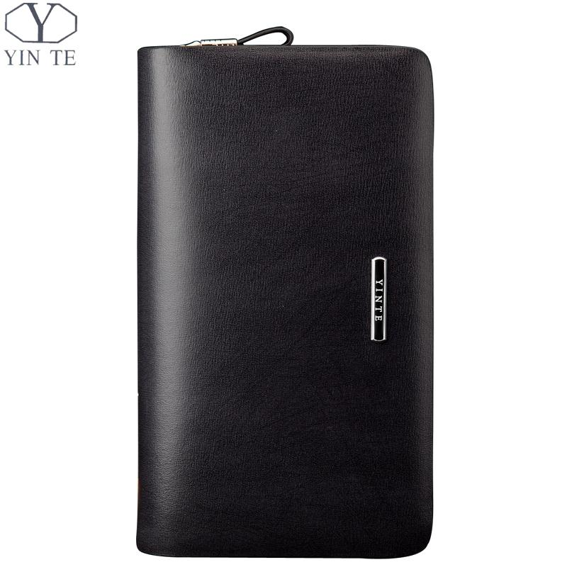 YINTE Fashion Men's Clutch Wallets Leather Men Wallet Zipper Bag Business Hand Bags Phone Wallet Wrist Bags Men Portfolio T034-2