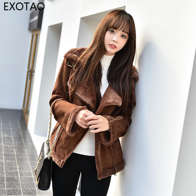 7674f082e69b9 EXOTAO 2017 Winter Women Coat Suede Faux Fur Thick Oversized Bomber Jacket  Turn-Down Collar Coffee Color Lining Ladies Outwear
