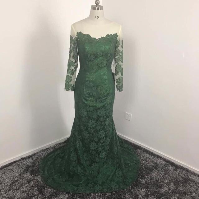 Katristsis D 2018 Dark Green Mermaid Lace Bridesmaid Dresses Custom Made Vestidod E Festa Long Sleeves