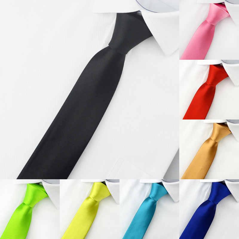 Mans akcesoria Slim Skinny Tie dla mężczyzn żakardowe tkane stałe szampana pomarańczowy czerwony fioletowy niebieski krawaty krawat ślubny