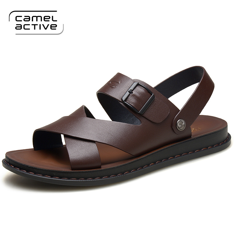 Camel Active Men Sandals Genuine Leather Sandals Men Fashion Comfortable Leisure Buckle Strap Brand Shoes Men Beach Sandals 3730(China)