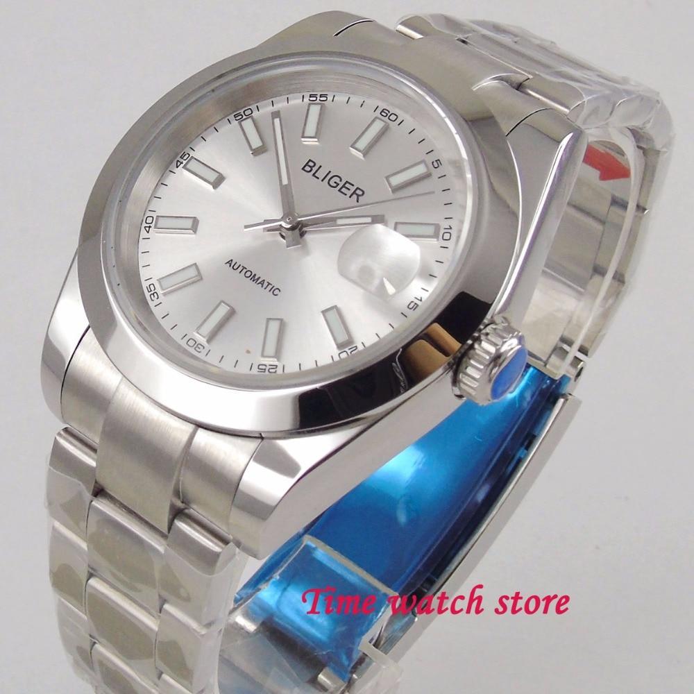 40mm Bliger silver dial luminous men s watch saphire glass date polished bezel 21 jewels MIYOTA