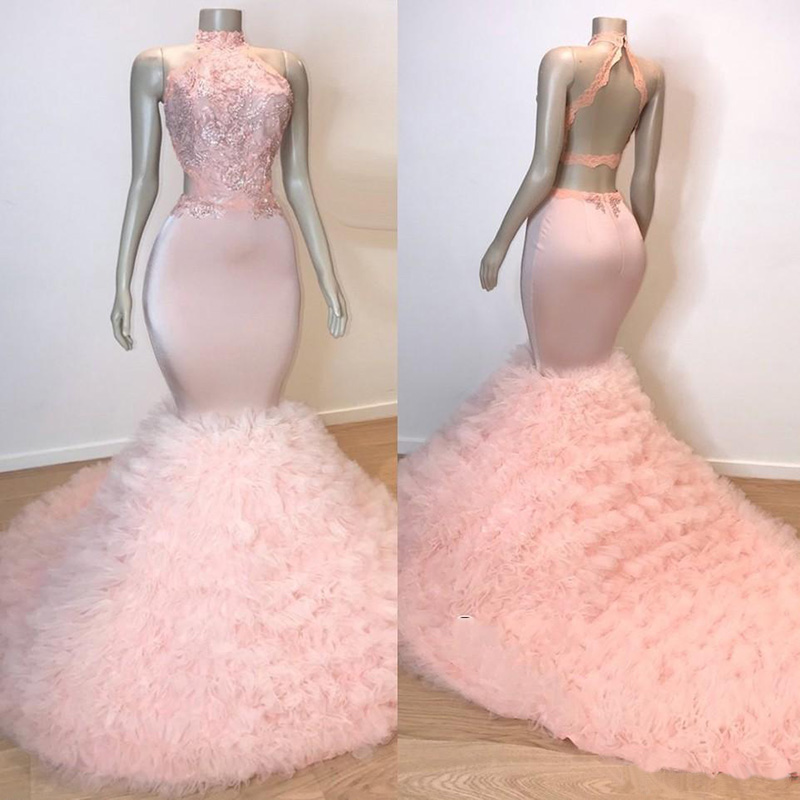 Real Picture Backless Long Prom Dress High Neck Beaded Lace Top Tiered Light Pink Mermaid African Black Girl Prom Dresses 2019