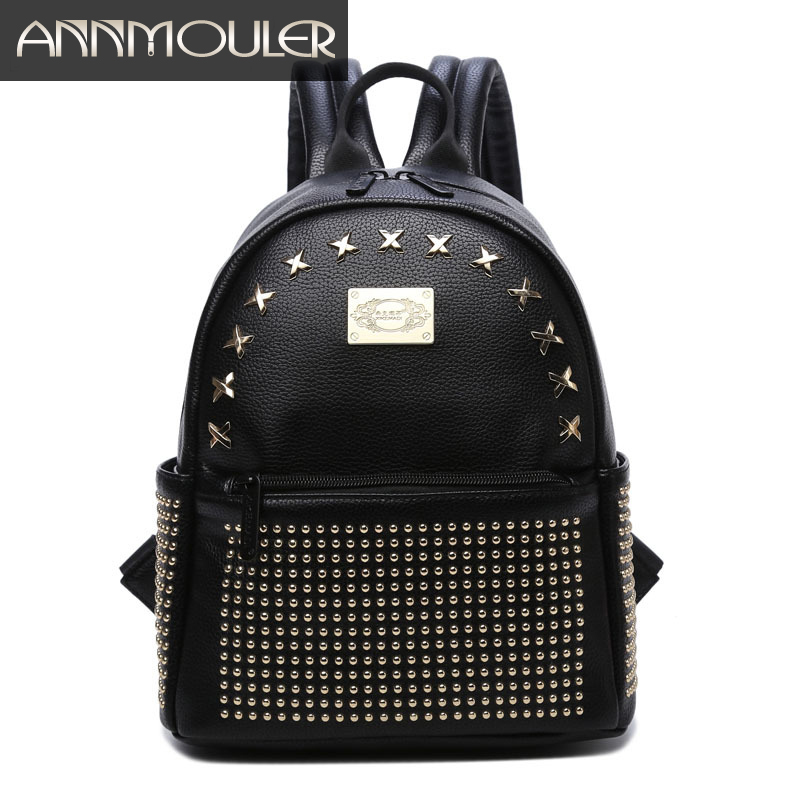 Annmouler Fashion Women Backpack Luxury Pu Leather Backpacks High Quality Casual Daypack Solid Color School Bag for Teenagers annmouler women fashion backpack pu leather shoulder bag 7 colors casual daypack high quality solid color school bag for girls