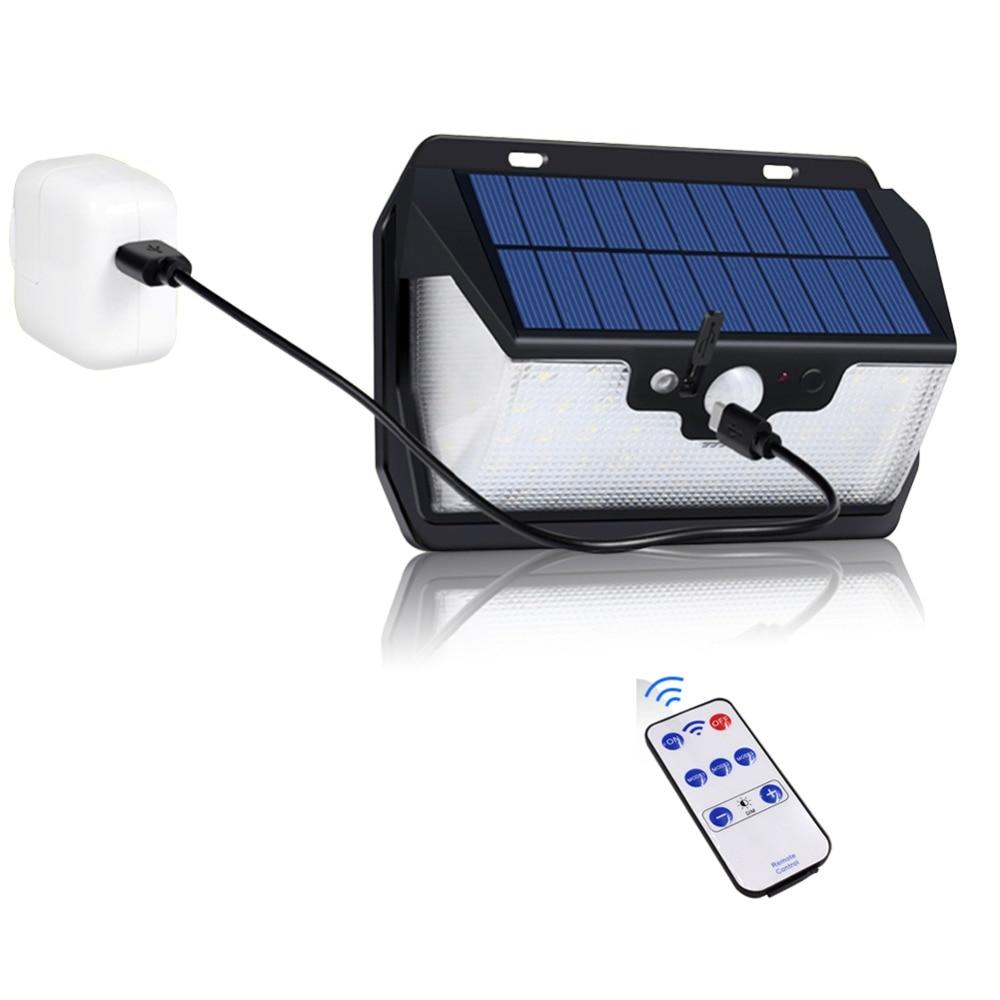 1000lm 55LED Movido A Energia Solar de Carregamento USB À Prova D' Água Jardim Luz Solar Ao Ar Livre Quintal Lâmpada de Segurança Luz De Rua de Controle Remoto