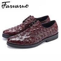 Farvarwo мужские итальянские крокодил тиснением из натуральной кожи Офисные платье в деловом стиле Оксфордские туфли острый носок Туфли без ка