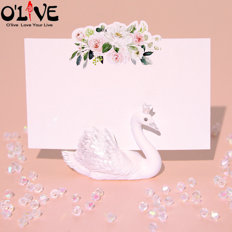 10 Pcs Swan Place Card Holders Wedding Name Cards Table Holder Wedding Centerpieces Party Sweet Table Decoration