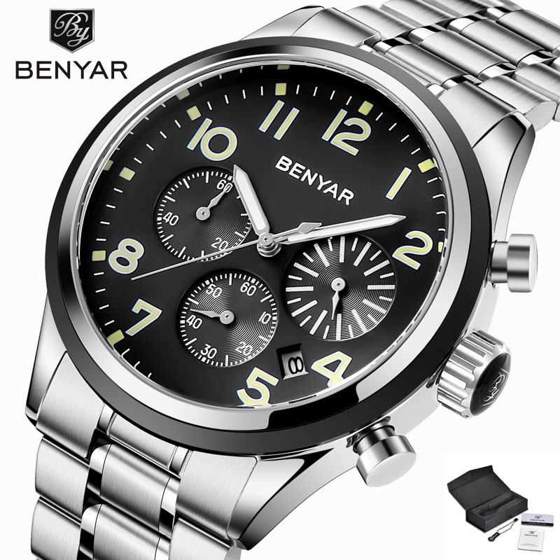 Benyar Business Stainless Steel Watch Men Luminous Hands Mens Watches Top Brand Luxury Waterproof Quartz Wristwatch didun watches men luxury brand watches mens steel quartz watches men diving sports watch luminous wristwatch waterproof
