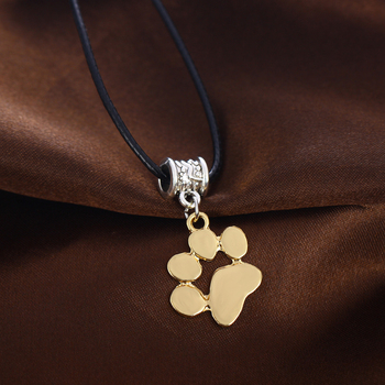 Pet Paw Print Footprint Pendant Necklace Leather Chain Cord