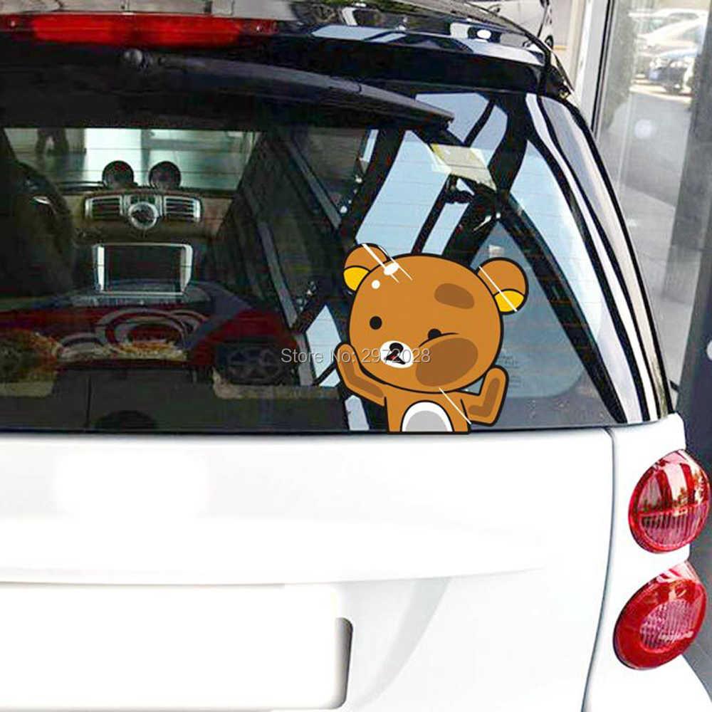 ใหม่ล่าสุดคำเตือนรถจัดแต่งทรงผมการ์ตูนหมี Rilakkuma ตีกระจกรถยนต์สติกเกอร์ Windows ด้านหลังกระจกรถ Decal ไวนิล