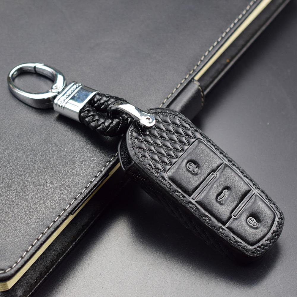 Smart Remote Auto key set shell Rhombus Textured Real Leather For Volkswagen VW CC Passat b6 b7 Magotan R36 Car key Case cover