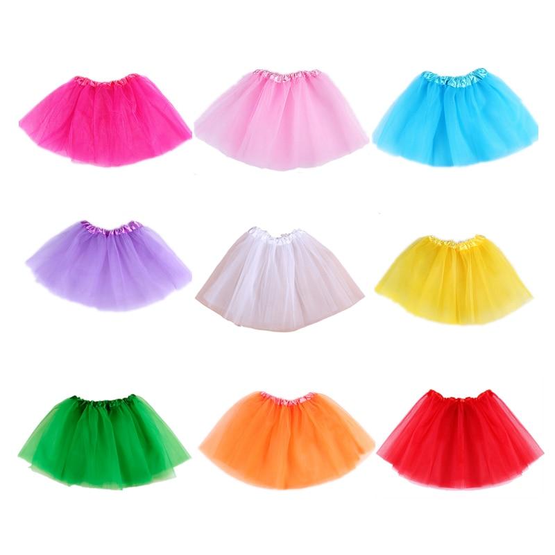 Baby Girls Tutu Falda Falda de baile para niños Translúcido Hilo de malla de 3 capas Colores hermosos Falda deportiva para niñas Longitud 28CM