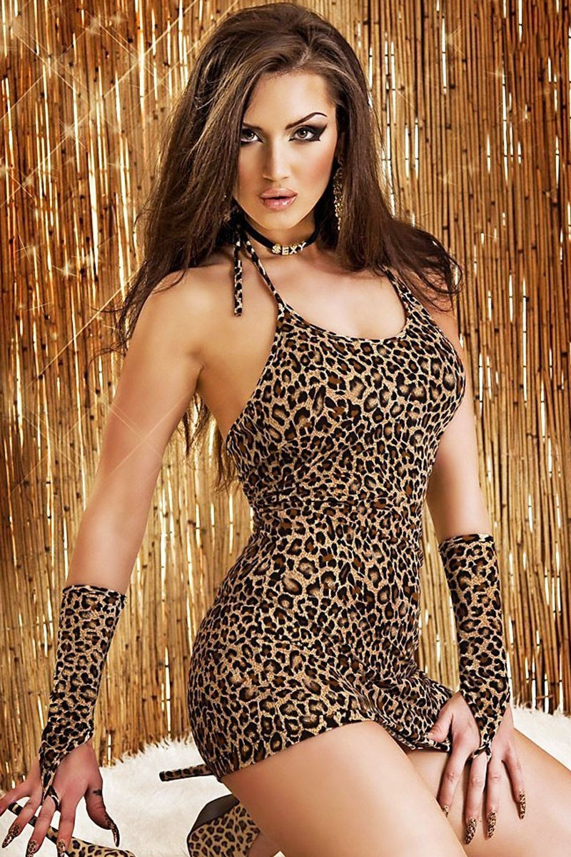 Leopard-Chemise-Dress-with-Gloves-LC21502