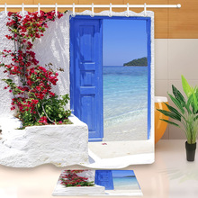 Red Flower Blue Greek Door with a Sea View on Island Shower Curtain With Bathroom Mat Set Waterproof Fabric For Bathtub Decor