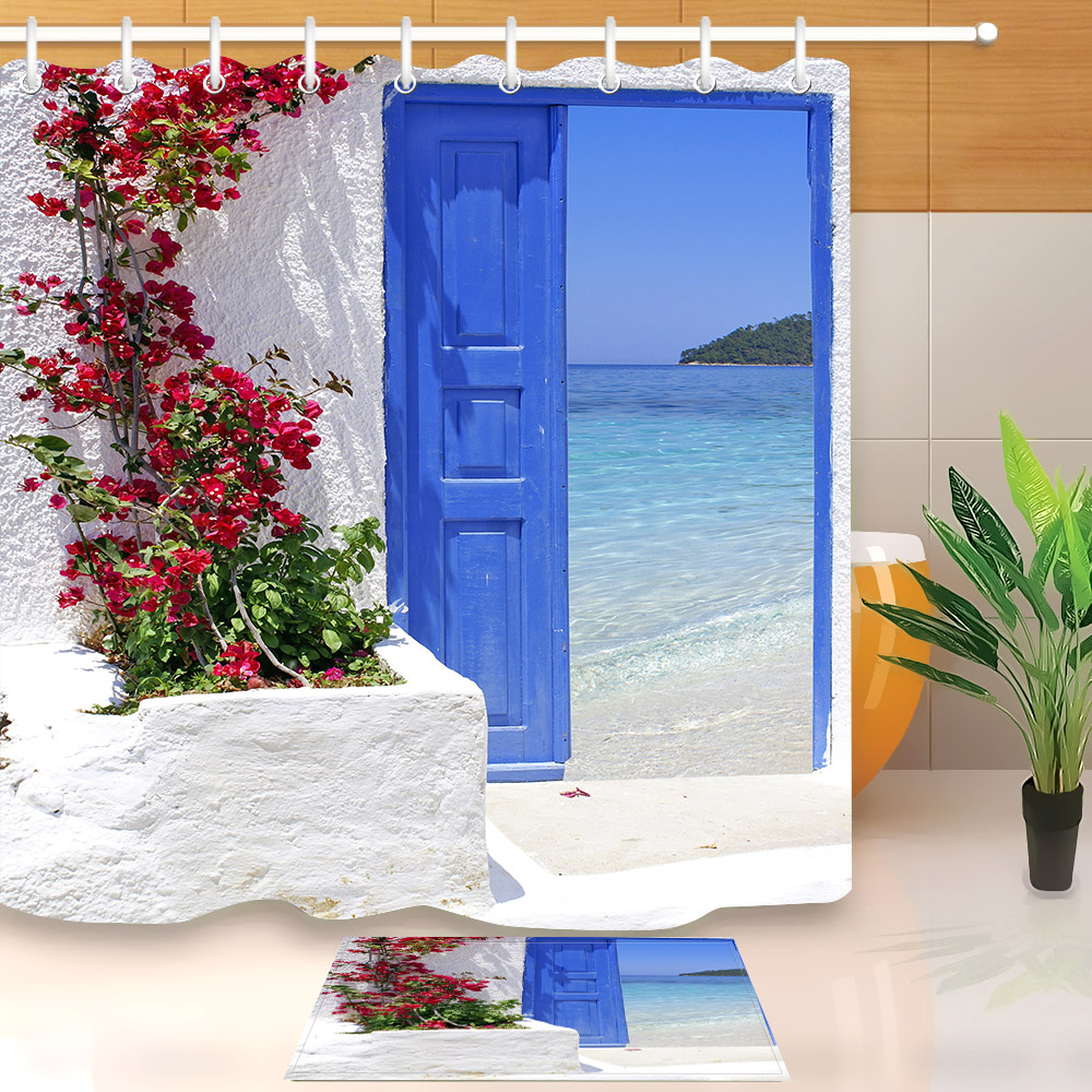 Red Flower Blue Greek Door with a Sea View on Island Shower Curtain With Bathroom Mat Set Waterproof Fabric For Bathtub Decor image