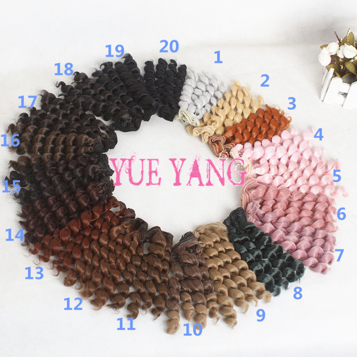 AILAIKI Toy 15CM Black Brown Colors BJD Wigs Screw Coils Noodle Curly Thick Doll DIT Wig Handmade Hair For SD BJD 5/10 Pcs/lot