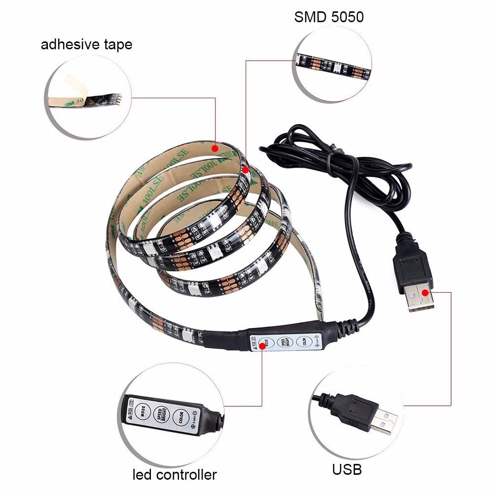 Usb Strip Light Tv Backlight Bias Lighting White Warm Rgb Led Wiring Diagram 8 Rgbw 5050 Series Pcb Lights Waterproof Type 05m 1m 2m In Strips From