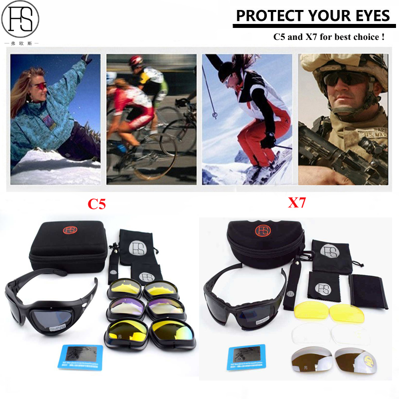 Tactical Glasses FS X7 Polarized Sport Sunglasses Men Army Military Oculos Airsoft Goggles C5 Hunting Hiking Glasses Wargame