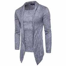 2018 Brand New Mens sweater fashion leisure wind pure color fake two-piece sweater for male S-2XL
