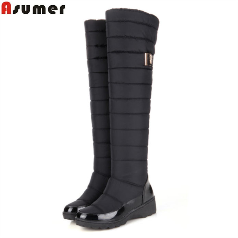 ASUMER Plus size New keep warm winter snow boots for women shoes patent leather fashion thick fur footwear knee high boots blue fawn warm women s snow boots ming blue size 37