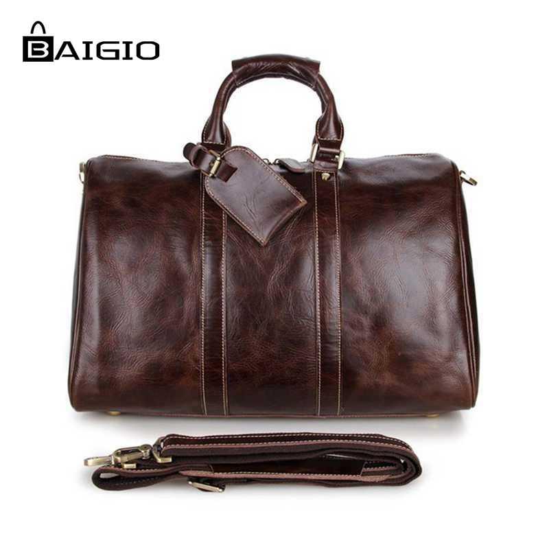 Baigio 2015 Новая мода коричневый кожаный сумки спортивный костюм для путешествий Камера